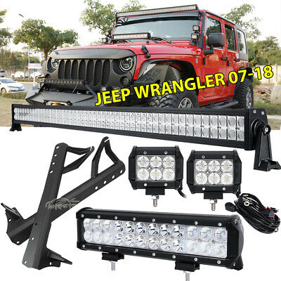 "Mount Bracket Fit For Jeep Wrangler JK 52"" 700W+12"" LED Light bar +4"" 18W Pods"