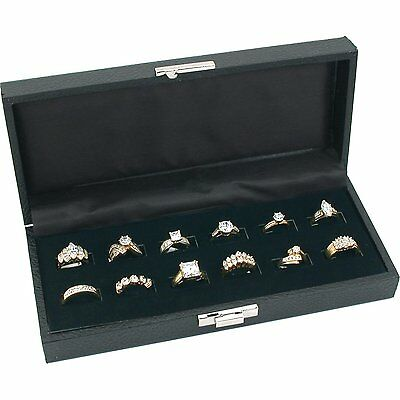 "12 Wide Slot Black Ring Tray Display Jewelry Showcase 8 3/4"" x 5 3/8"""