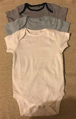Brand New Next Baby Boys Blue Mix Vests. 3 Items. Age 9-12 Months