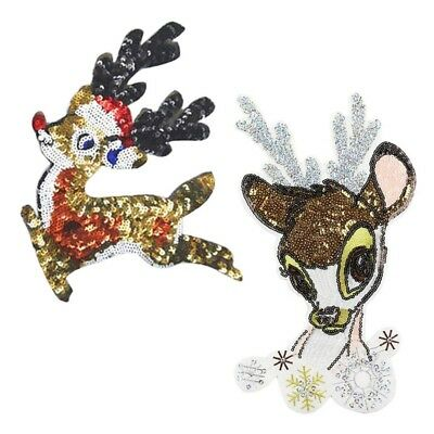 1pc Christmas Deer Sew-on Iron-on Sequins Patch Embroidered Appliques Patches