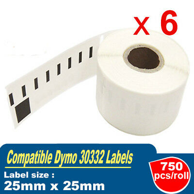 6x Rolls Compatible Dymo 30332 Shipping Label 25mmx 25mm Labelwriter450 Turbo