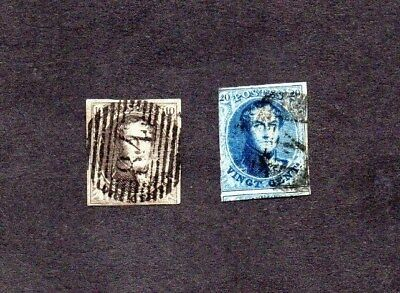 BELGIUM.1861.KING LEOPOLD 1. 10c & 20c IMPERF DEFINITIVE STAMPS.GOOD USED.SG25/6