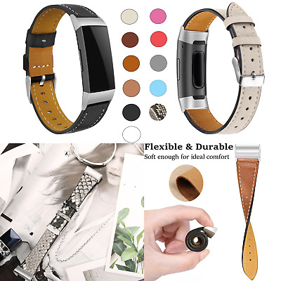 Genuine Leather Replacement Bracelet Strap Watch Band for Fitbit Charge 3 & 3SE
