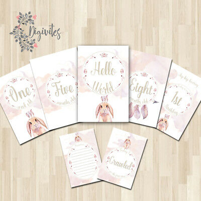 Girl Boho Floral Tribal Bunny Baby Milestone cards, Baby Photo props, Baby gift