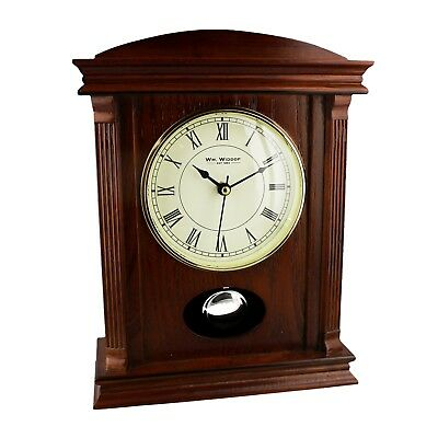 Dark Finish Wood Mantel Clock With Pendulum.new And Boxed.mantle.special Offer