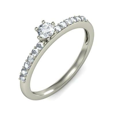 3.5 Gm 14K/ 18K White Gold Solitaire Look Natural Diamond Women Engagement Ring