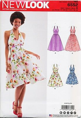 New Look Sewing Pattern 6552 Misses 10-22 Retro Style Rockabilly Halter Dresses