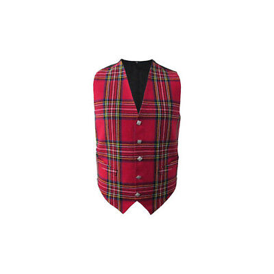 New Mens Scottish Waistcoat In Royal Stewart Tartan With Thistle Buttons