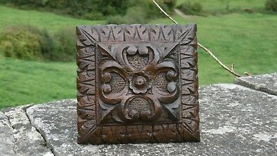 SUPERB 19thc ARCHITECTURAL GOTHIC OAK CARVED CEILING BOSS HERALDIC DECOR (1)