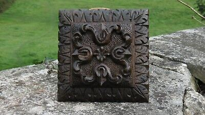 SUPERB 19thc ARCHITECTURAL GOTHIC OAK CARVED CEILING BOSS HERALDIC DECOR (2)