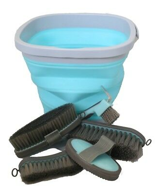 6 Piece Grooming Kit Collapsible Bucket Brushes Hoofpick Curry Comb