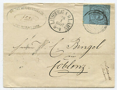 AD Thurn & Taxis Brief Limburg Koblenz 1857