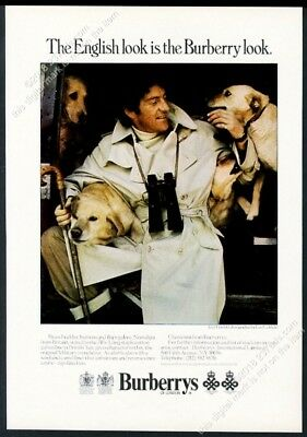 1974 Golden Retriever Lord Lichfield photo Burberry trench coat vintage print ad
