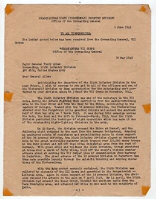 1945 Letter of Commendation to 104th Timberwolf Infantry Division