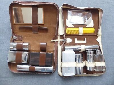 2 Vintage men's travel grooming kits in leather cases ##OAD62BS