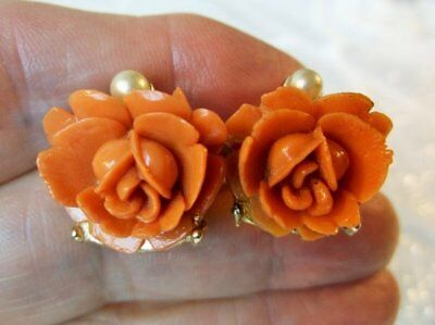 Vintage Carved Coral Celluloid Rose Flower Gold Tone Screw Back Earrings