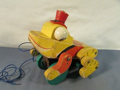 Vintage Fisher Price Wooden Buddy Bullfrog Pull Toy
