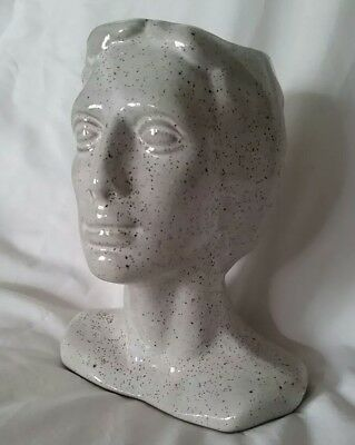 Unique Vintage Pottery Stoneware Female Head Planter Mid Century!