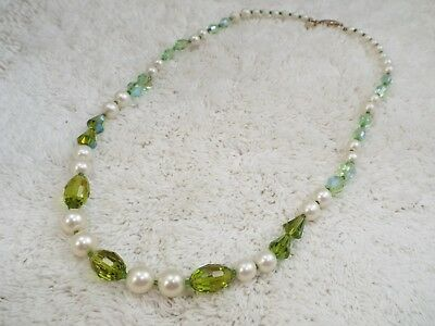 VENDOME White Bead Green AB Crystal Bead Necklace (B10)