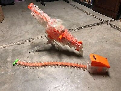 NERF N-Strike Clear VULCAN EBF-25 Belt-Fed Machine Gun USED (Read Description)