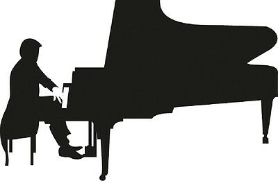 (AP0663) Sticker 15 cm Choice of Colours Decore in 8 Colors Music Piano Wings