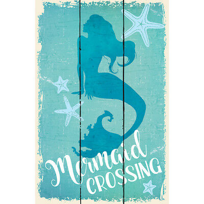 "NEW Mermaid Crossing Sign 10.5"" Design Wood Pallet Wall Décor w/ Sawtooth Hanger"