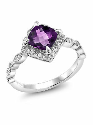925 Sterling Silver 1.44 Ct Cushion Checkerboard Purple Amethyst Solitaire Ring