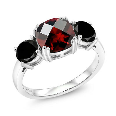 3.50 Ct Cushion Checkerboard Red Garnet Black Diamond 925 Sterling Silver Ring