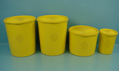 Lot of 4 Vintage Yellow Filigree Tupperware Containers With Matching Lids EUC