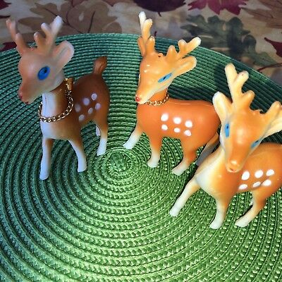 3 Vintage Christmas Plastic Deer, Reindeer,China Soft Poseable Heads