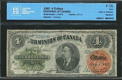 1882 $4 Dominion of Canada Four Dollars. CCCS F-15. DC-10. Scarce banknote.