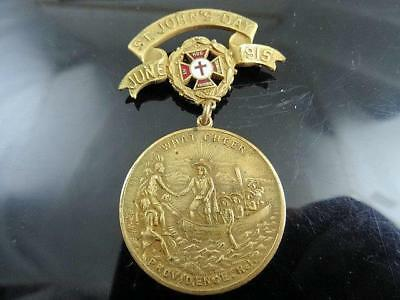 Rare 1915 Knights Templar St Johns Day Pilgrim Indian Providence Ri Badge Medal