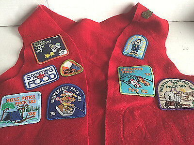 Vintage 1990's Boy Scout Patch Felt Vest Red Youth 11 Patches 1 Tiger Cub Pin