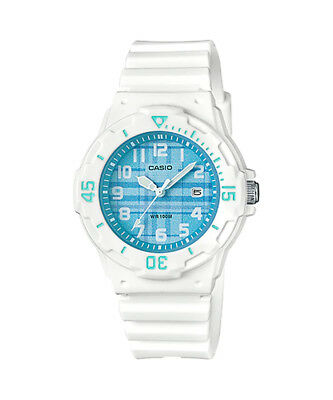 Casio LRW200H-2CV Women's White Resin Band Plaid Blue  Dial Day Date Watch