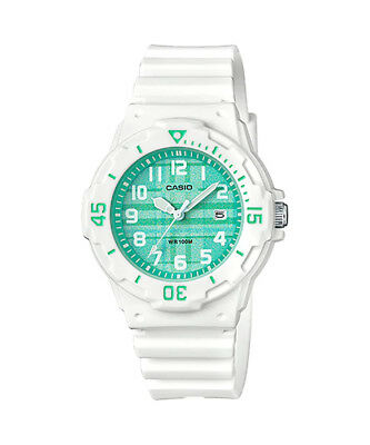 Casio LRW200H-3CV Women's White Resin Band Plaid Green Dial Day Date Watch