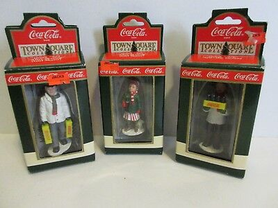 1992 Coca-Cola Town Square Set Of 3 Figurines-Gil The Grocer & Skater, & Man