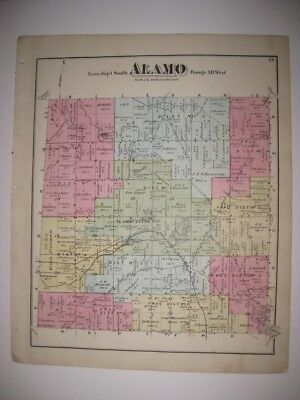 Antique 1873 Alamo Cooper Township Kalamazoo County Michigan Handcolored Map Nr