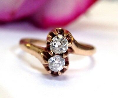 10K Rose Gold Antique Victorian .30CT Old Mine Cut Diamond Twin Ring Size 6.5