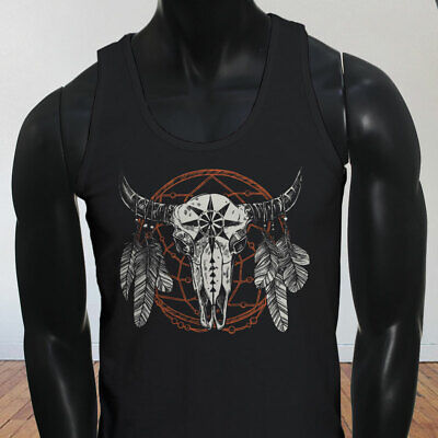 BULL DREAM CATCHER SKULL COUNTRY COWGIRL RODEO Mens Black Tank Top