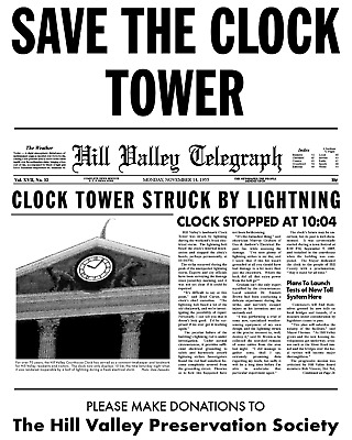 Back To The Future Save The Clock Tower Flier Prop/Replica Marty Mcfly > Fox