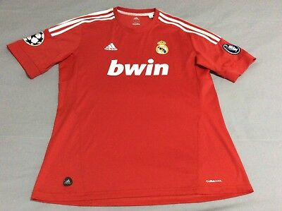 Real Madrid Adidas Red Climacool Bwin Soccer 9 Jersey Mens Size Xl
