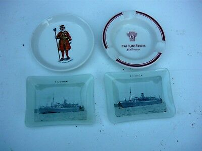 Collection of old ashtrays - 2 x SS Orion, Hotel London (Melb) + Tower of London