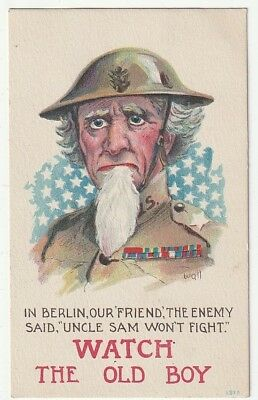 Uncle Sam in Military Uniform~WW1~A/S Wall~Uncle Sam Won't Fight~Patriotic~1918