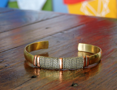 Brass Cuff Bracelet with Woven Nickel and Copper Design