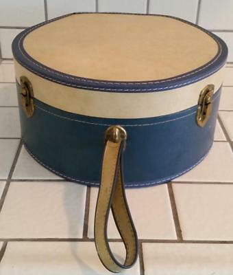 Cool Vintage 1960's Round Hat Box Blue and Ivory Train Case Luggage Old Suitcase