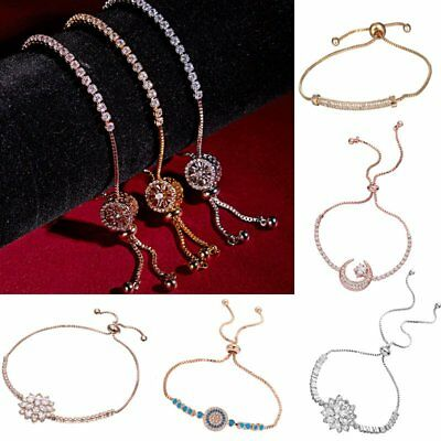 Women Crystal Zircon Flower Bracelets Adjustable Bangele Jewelry Wedding Party