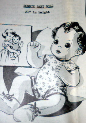 "GREAT VTG 1950s 21"" BABY DOLL & CLOTHING SEWING PATTERN UNCUT"