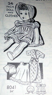 "GREAT VTG 1950s 24"" DOLL & CLOTHING SEWING PATTERN UNCUT"