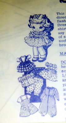 GREAT VTG 1950s DOLL & CLOTHING SEWING PATTERN UNCUT