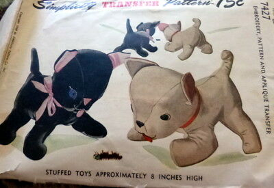 "GREAT VTG 1940s 8"" CAT & DOG STUFFED TOYS SEWING PATTERN"